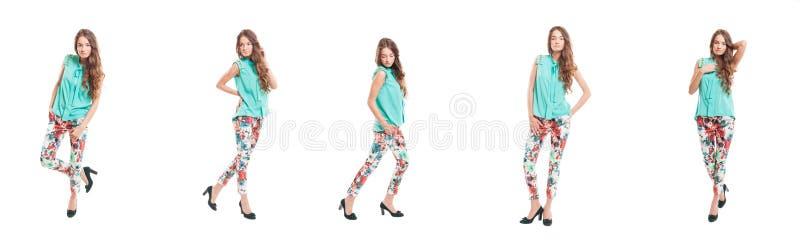 Ung flicka som bär moderiktig stilkläder arkivbild