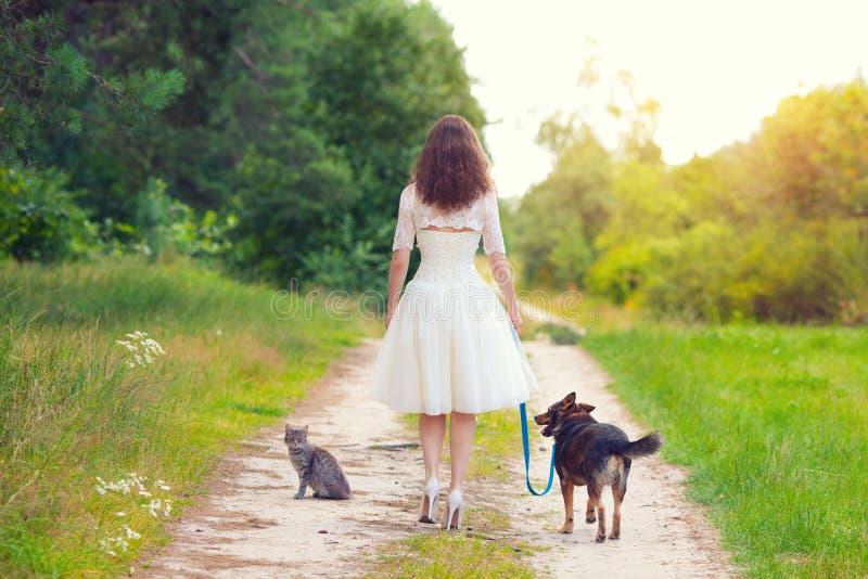 Ung flicka som går med hunden och katten arkivbilder