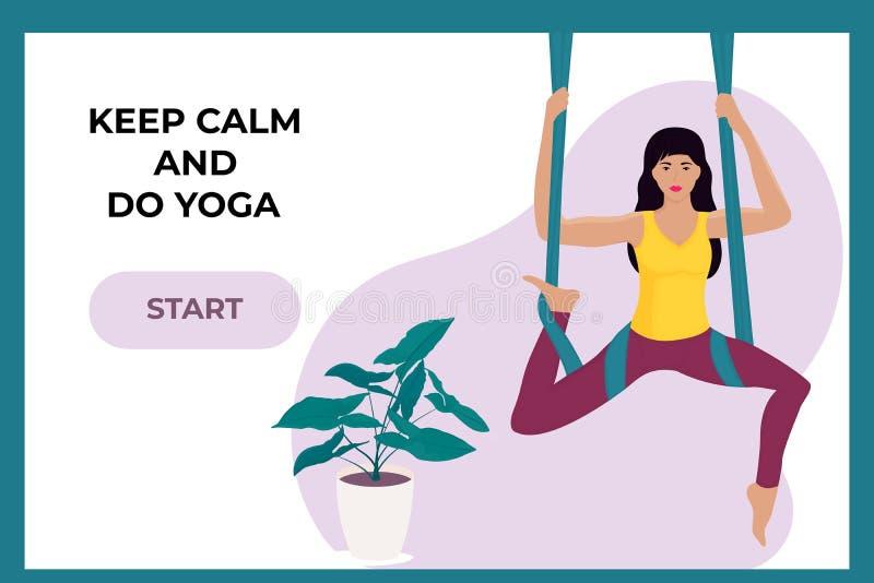 Ung flicka som gör flyg- yoga i en hängmatta Landa sidamallen vektor illustrationer