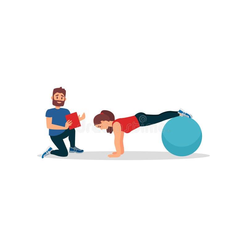 Ung flicka som gör plankaövning genom att använda konditionbollen Kvinnautbildning i idrottshall under kontroll av den personliga royaltyfri illustrationer