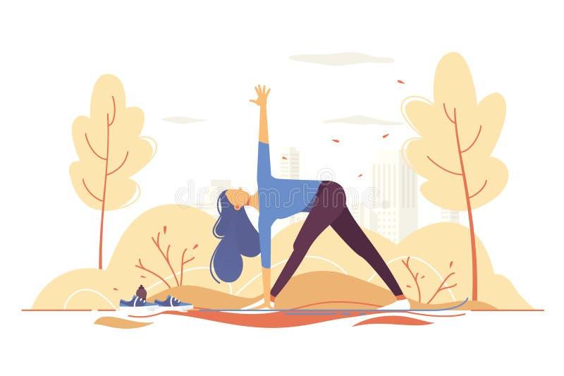 Ung flicka som gör yoga i en parkera på stadsbakgrund vektor illustrationer