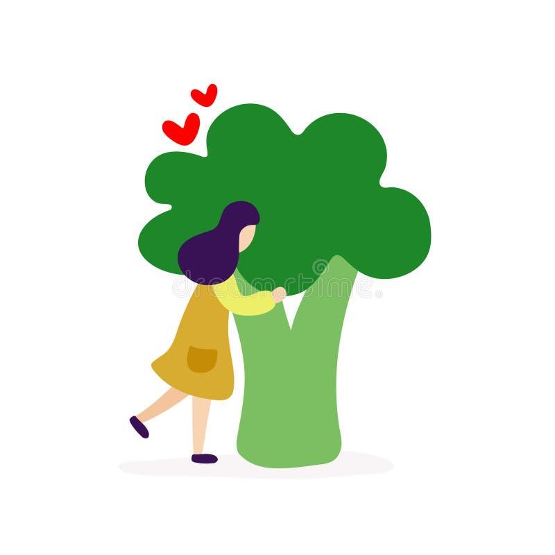 Ung flicka som kramar stor broccoli royaltyfri illustrationer