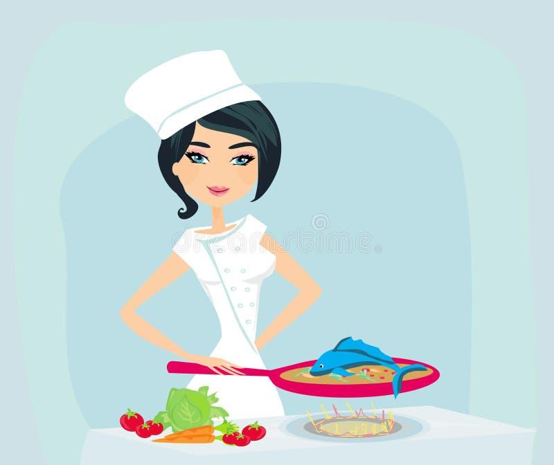Ung flicka som lagar mat en fisk i en stekpanna stock illustrationer
