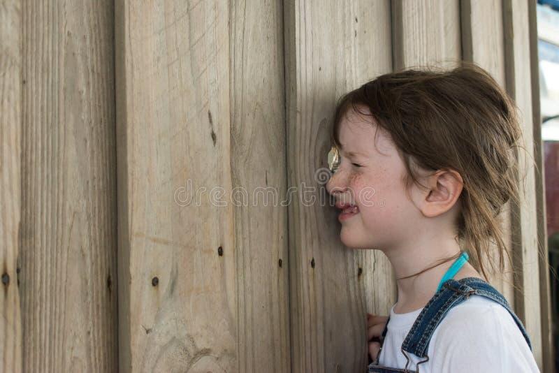 Ung flicka som plirar till och med hålet i staket arkivbild