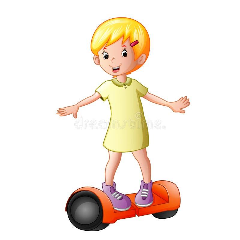 Ung flicka som rider en elektrisk sparkcykel royaltyfri illustrationer
