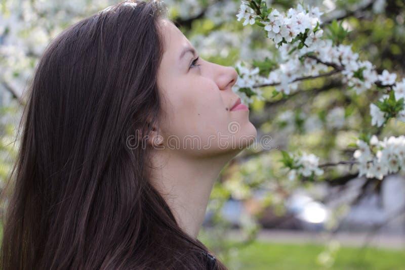 Ung flicka som tycker om våren royaltyfria foton