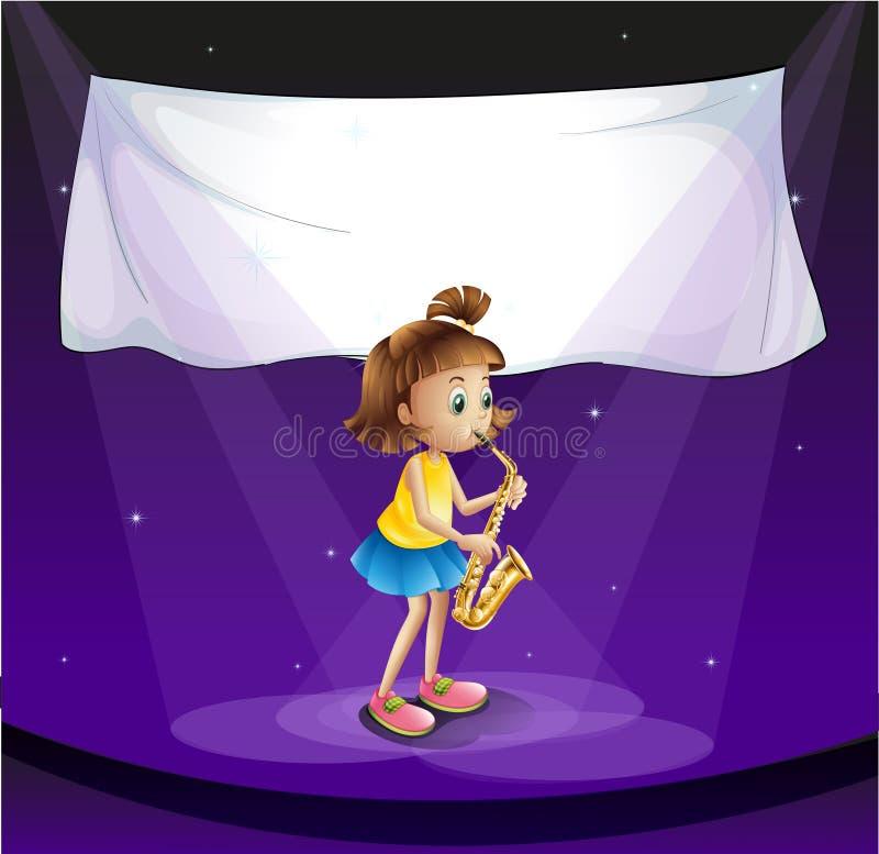 Ung flicka som utför på etappen med det tomma banret royaltyfri illustrationer