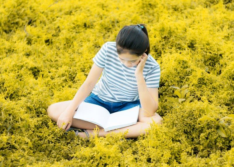Ung flickaläsning i guld- ängcontrysidenatur arkivbild