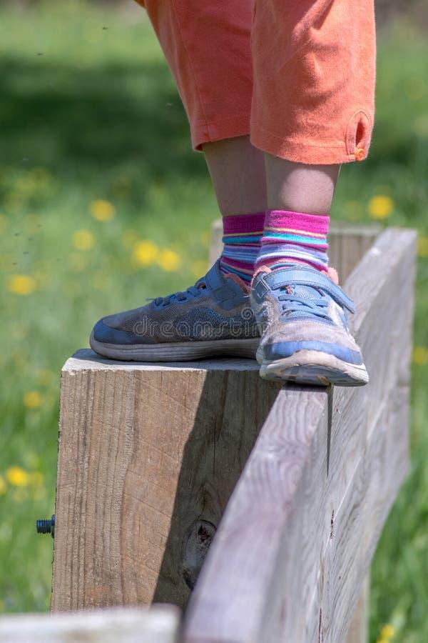 Ung flickas balansera handling på en staketöverkant royaltyfri bild