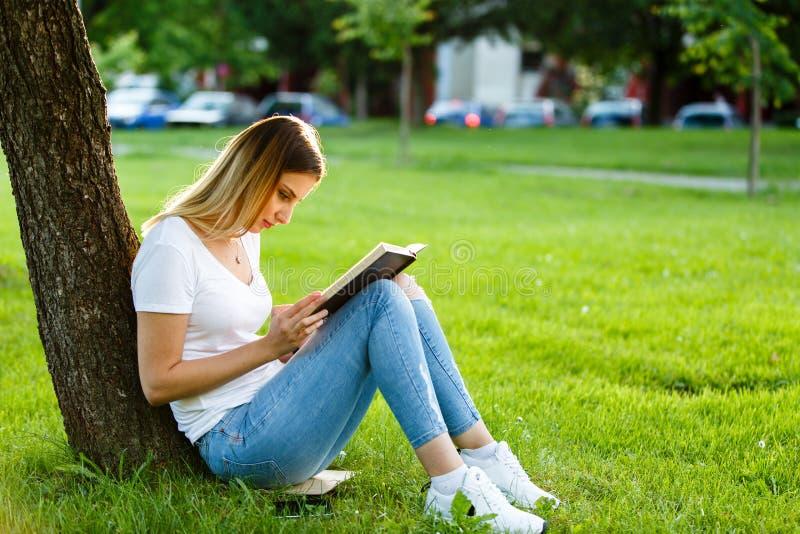 Ung flickasammanträde parkerar in och läsa en bok under trädet royaltyfria foton