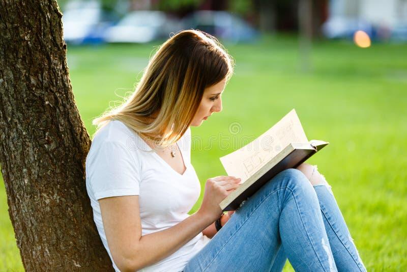 Ung flickasammanträde parkerar in och läsa en bok under trädet royaltyfri bild