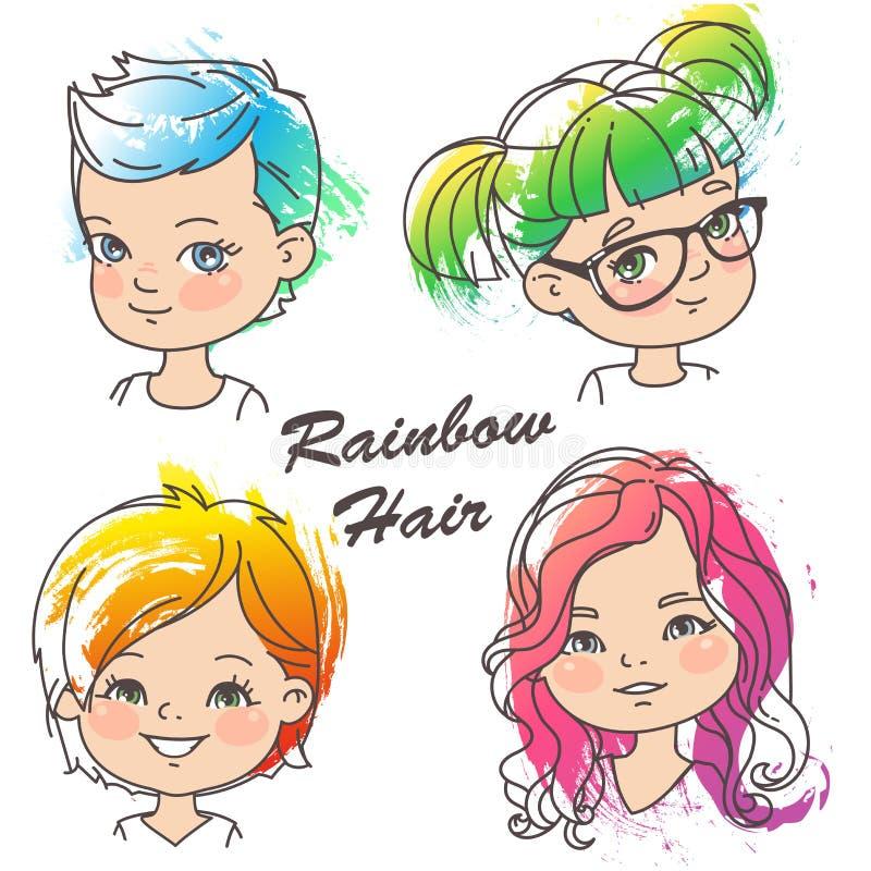 Ung flickastående med ljust hår vektor illustrationer