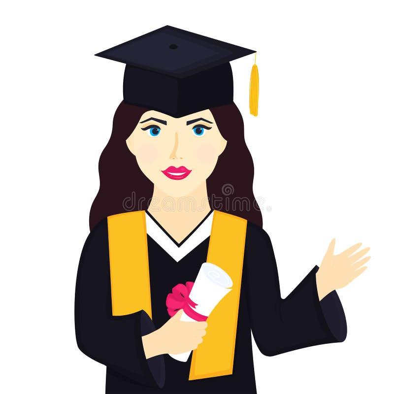 Ung flickauniversitetkandidaten i avläggande av examenlock med tofsen och kappan rymmer ett diplom och en hälsning vektor illustrationer