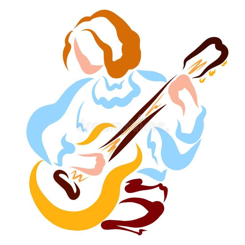 Ung gitarrist med en gitarr i hans händer, romantisk musik vektor illustrationer