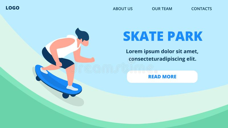 Ung grabb i sommar som beklär rida skateboarden stock illustrationer