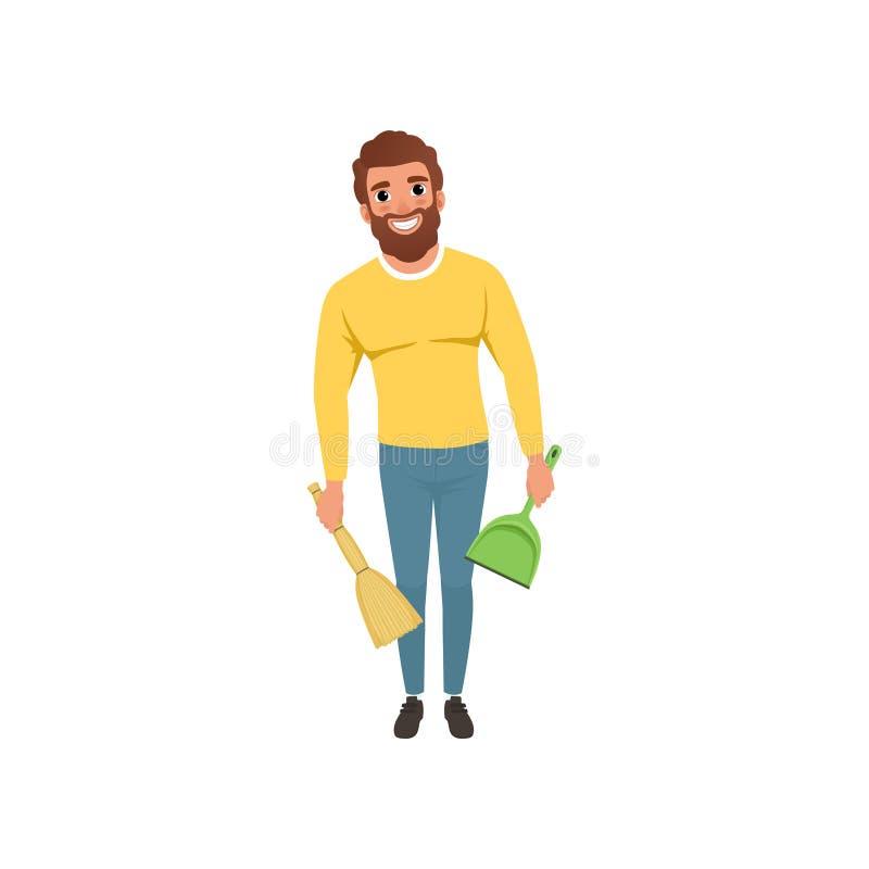 Ung grabb med kvasten och skopan i händer Gladlynt skäggig man med hushållsysslor Tecknad filmtecken av husmaken royaltyfri illustrationer