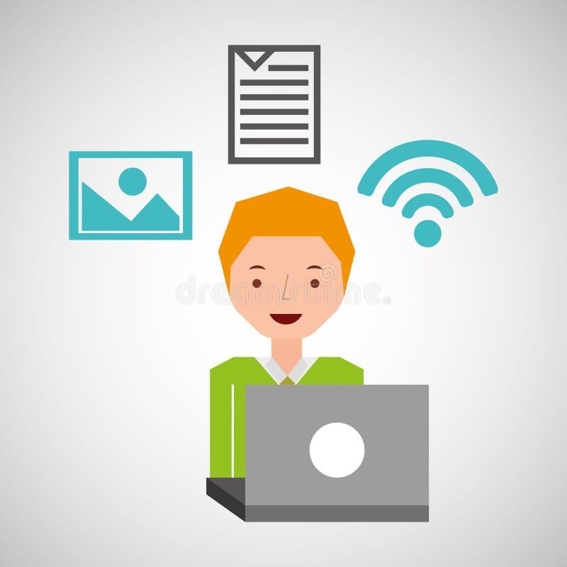Ung grabb som använder anslutning för bärbar datorbilddokument royaltyfri illustrationer