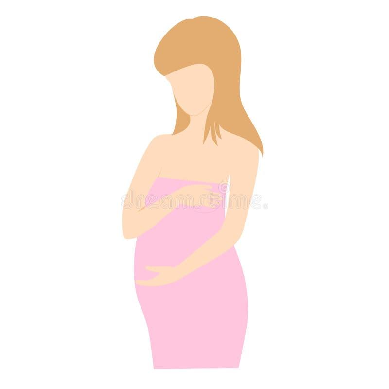 Ung gravid kvinna i rosa klänning utan framsidan på vit bakgrund royaltyfri illustrationer