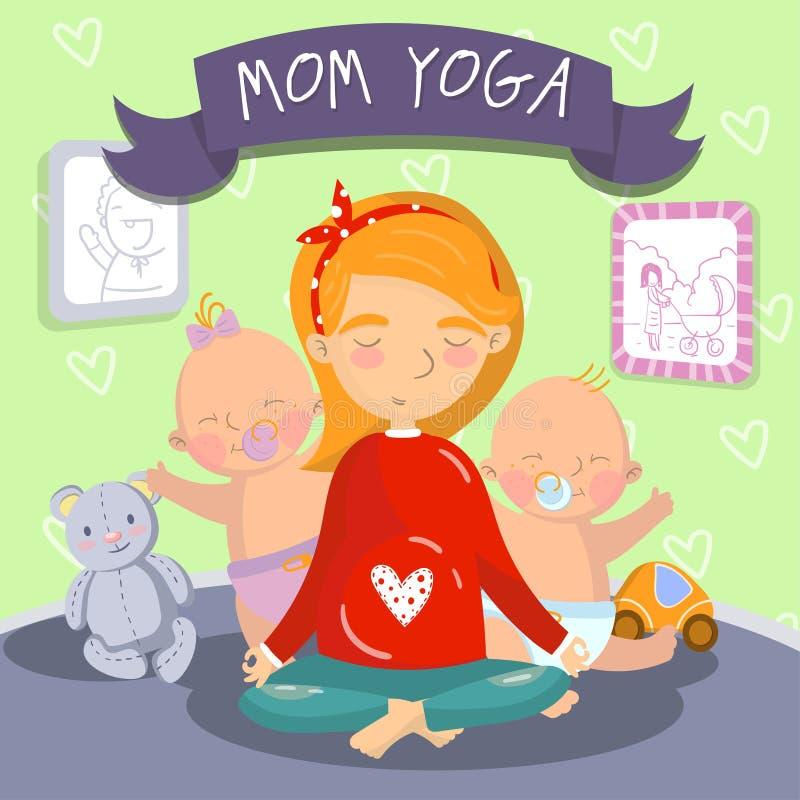 Ung gravid kvinna som kopplar av i yogalotusblommapositionen med hennes lilla ungar, illustration för mammayogavektor, tecknad fi royaltyfri illustrationer