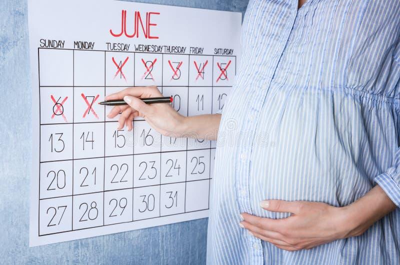 Ung gravid kvinna som räknar dagar med kalendern arkivbild