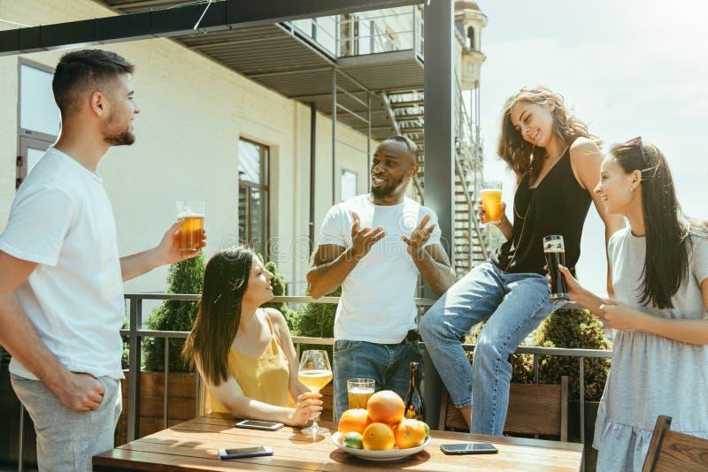 Ung grupp av vänner som dricker öl och tillsammans firar royaltyfri bild