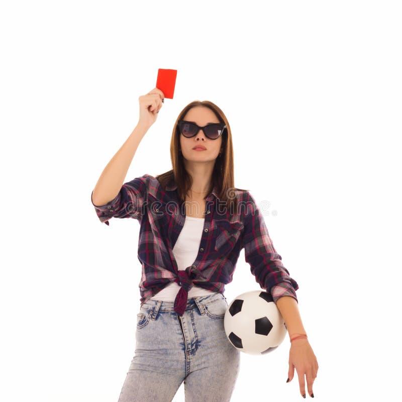 Ung gullig flicka med fotbollbollen, arkivbilder