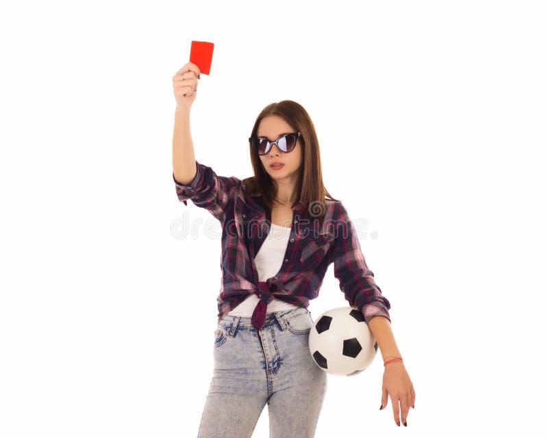 Ung gullig flicka med fotbollbollen, royaltyfria bilder