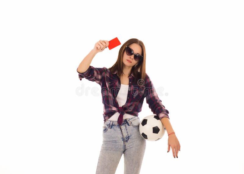 Ung gullig flicka med fotbollbollen, royaltyfri foto