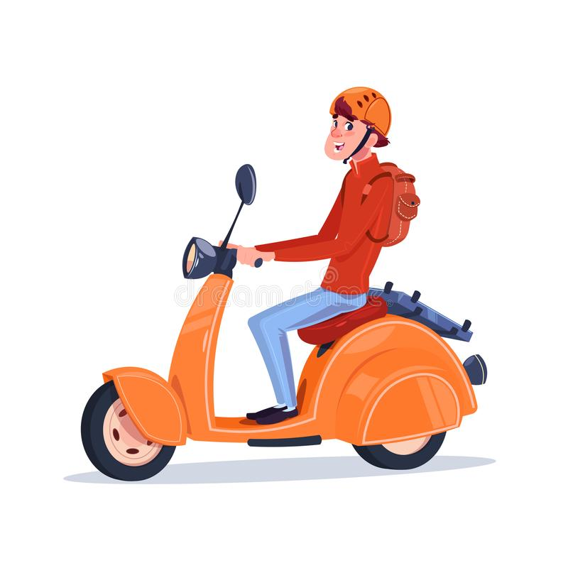 Ung Guy Riding Electric Scooter Vintage motorcykel vektor illustrationer