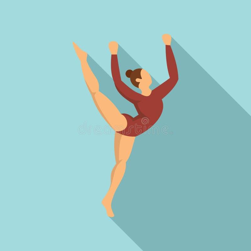 Ung gymnastisk flickasymbol, plan stil stock illustrationer