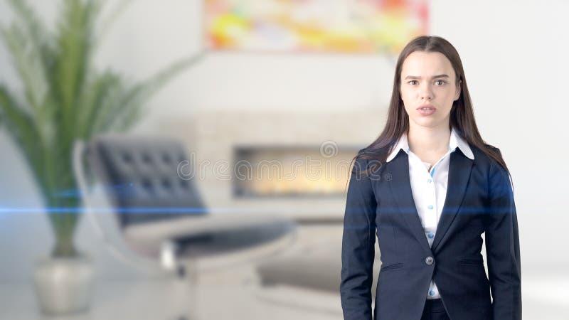 Ung härlig affärskvinna och idérikt märkes- anseende över blured inre bakgrund royaltyfria bilder