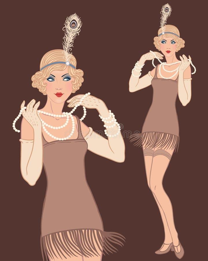 Ung härlig blond kvinna20-talstil. vektor illustrationer