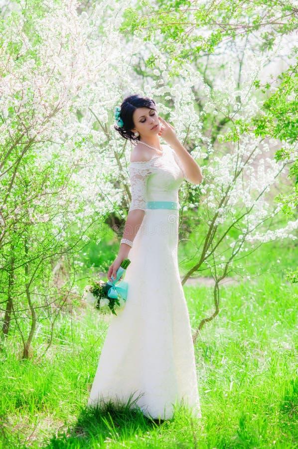 Ung härlig brud i en blomstra trädgård i vår arkivfoton