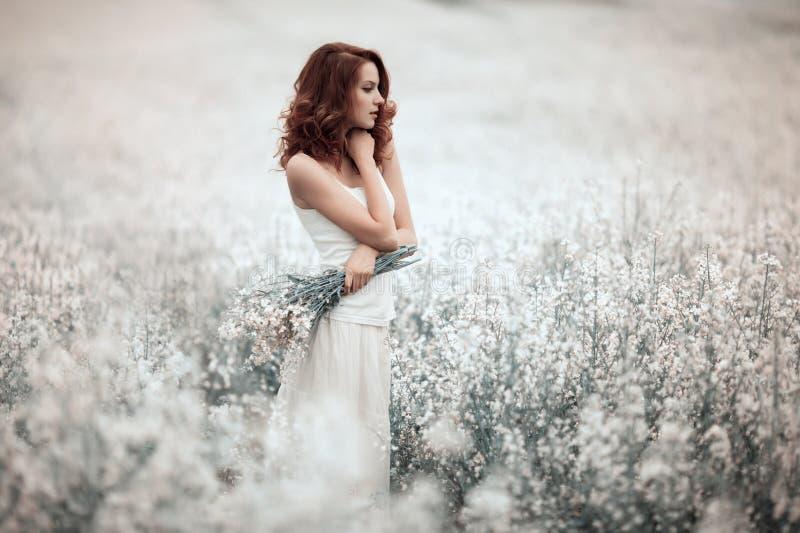 Ung härlig flicka i fältet arkivfoto