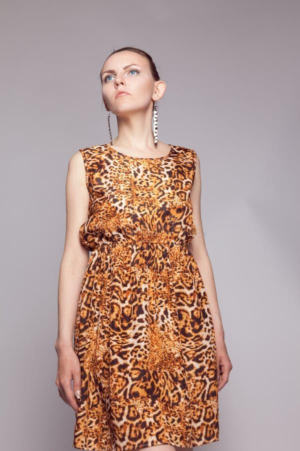 Ung härlig flicka i leopardklänning fotografering för bildbyråer