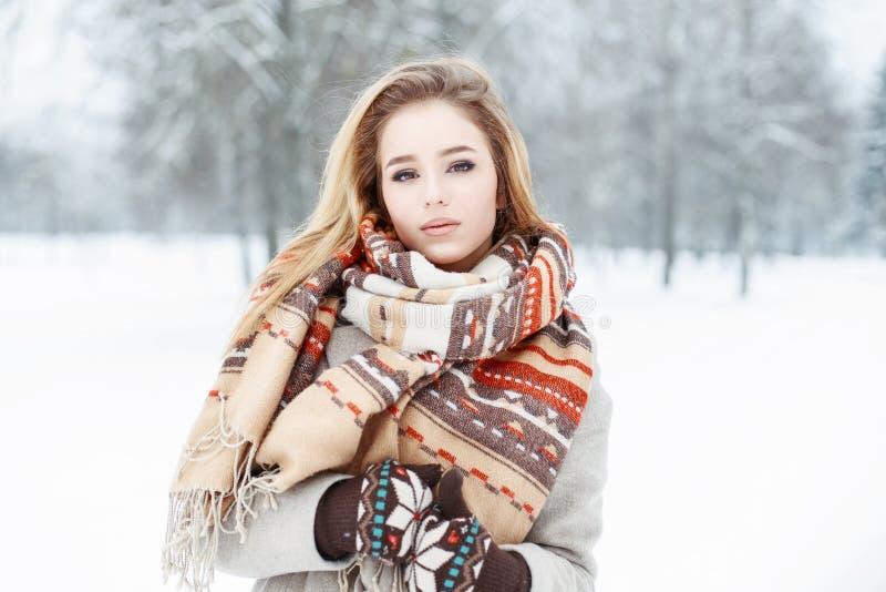 Ung härlig flicka med en tappningstilhalsduk och tumvanten i w arkivbild