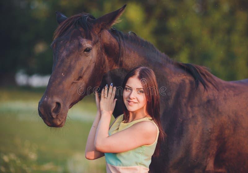 Ung härlig flicka med frisianhästanseende royaltyfri bild