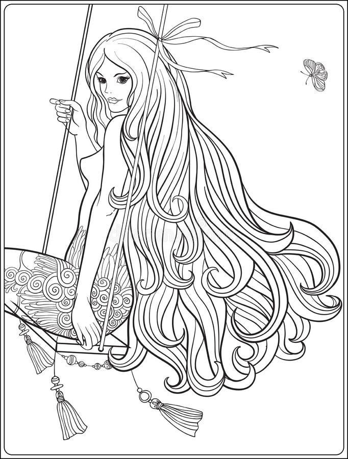 Ung härlig flicka med långt hår på gunga i rosträdgård Sto stock illustrationer