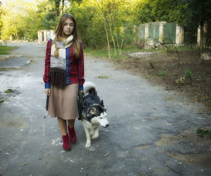 Ung härlig flicka som går i parkera royaltyfria bilder