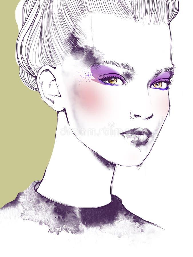 Ung härlig illustration för mode för flickaattraktionstående arkivbilder
