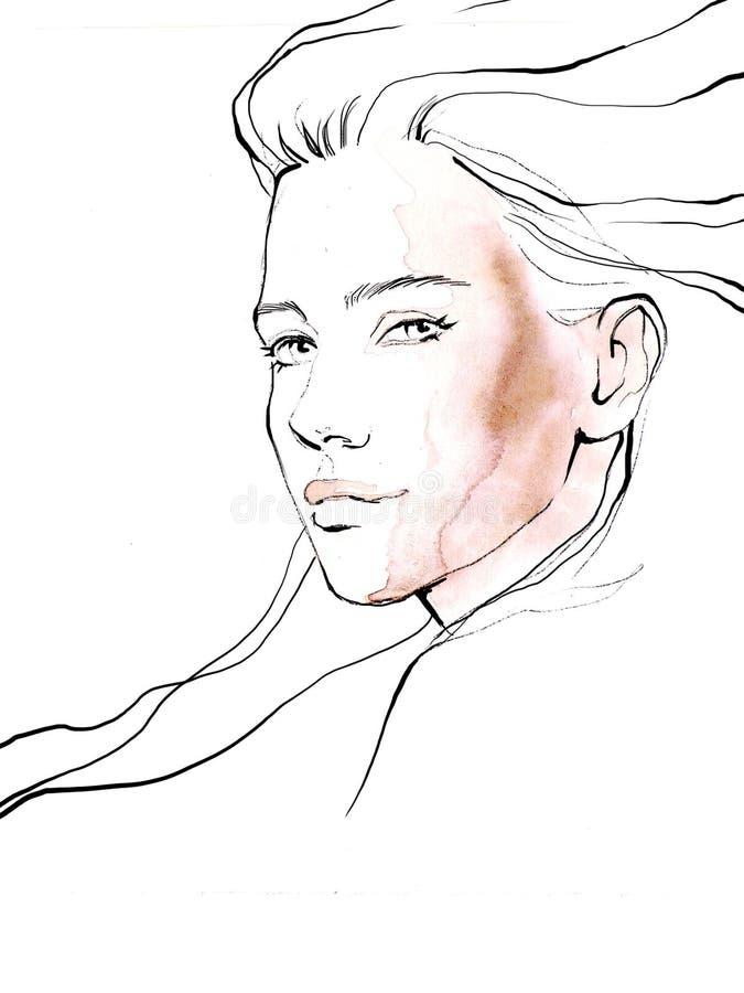 Ung härlig illustration för mode för flickaattraktionstående royaltyfria bilder