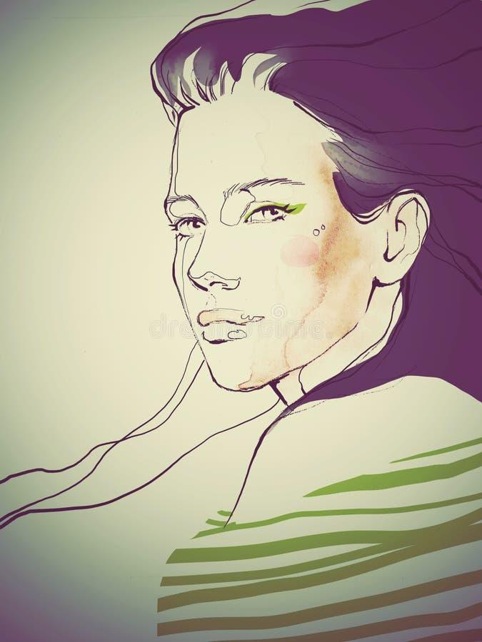 Ung härlig illustration för mode för flickaattraktionstående arkivfoton