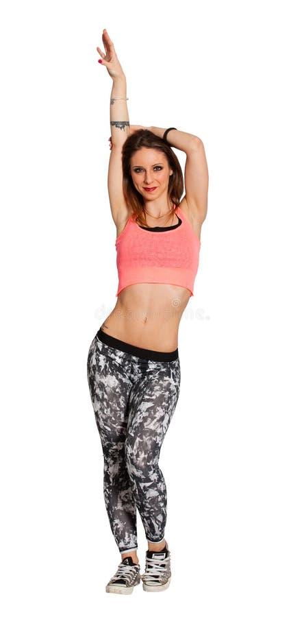 Ung härlig kvinna för kondition på vit bakgrund Tillgänglig PNG arkivfoto