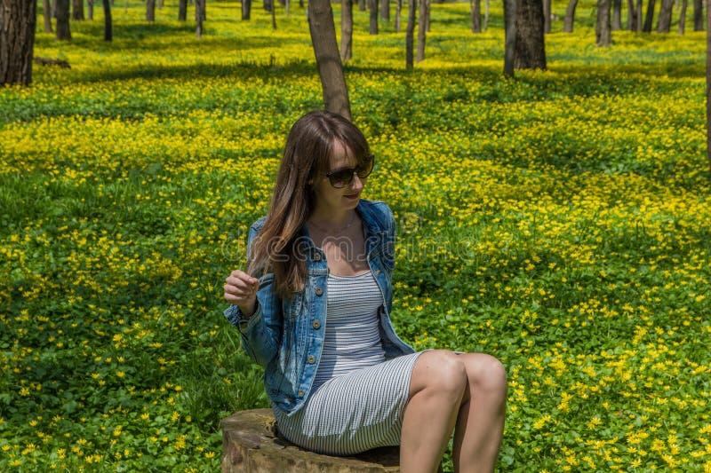 Ung härlig kvinna i det gula fältet i Central Park i Alm arkivbilder