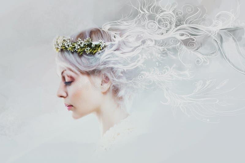 Ung härlig kvinna, i meningen av färger och royaltyfri bild