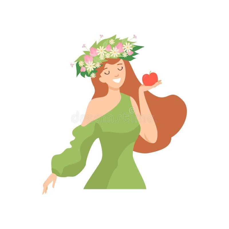 Ung härlig kvinna med blommakransen i hennes hår, stående av den eleganta le flickan med den blom- kransen och gräsplan vektor illustrationer