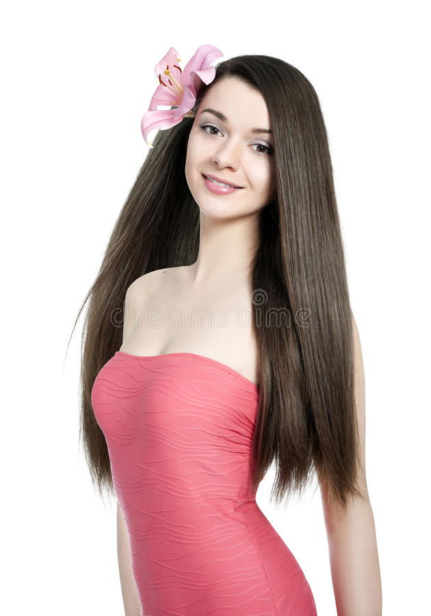 Ung härlig kvinna med healty hår royaltyfri fotografi