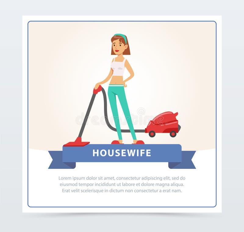 Ung härlig kvinna som gör ren golvet med dammsugare, beståndsdelen för vektor för hemmafrubanerlägenhet för website eller mobil stock illustrationer
