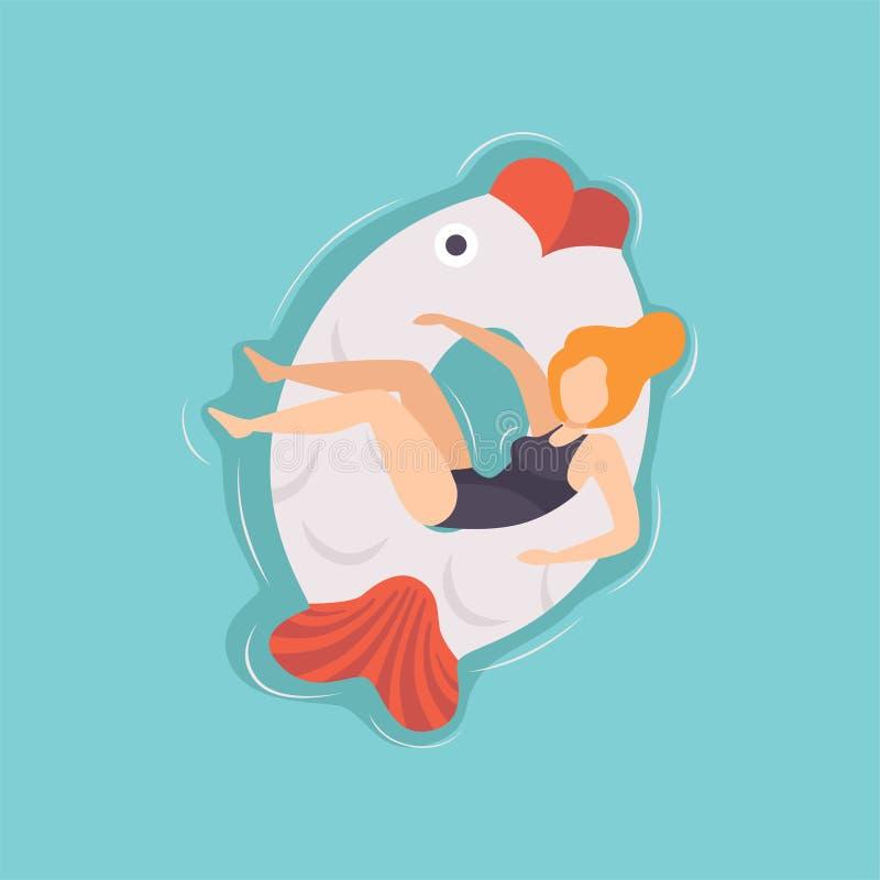 Ung härlig kvinna som svävar på den uppblåsbara cirkeln i formen av fisken i simbassängen, vektorillustration för bästa sikt vektor illustrationer