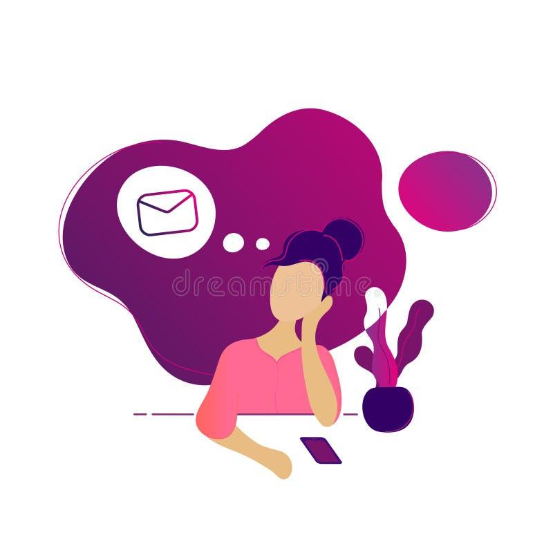 Ung härlig kvinna som tänker om nytt meddelande royaltyfri illustrationer